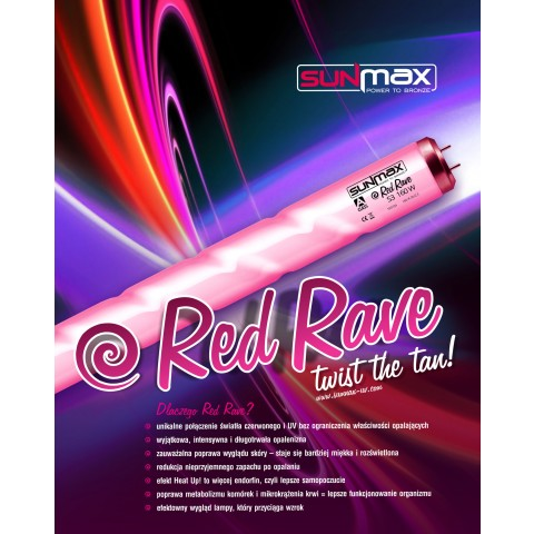 Sunmax Red Rave 180-200W 1.9m 2.6% Tanning lamp